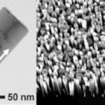 (left) Scanning  transmission electron microscope image of InGaN quantum dots in a GaN nanowire. (right) Scanning electron microscope image of nanowire ensemble. From H. P. T. Nguyen, et al. Nano Letters, 11 (5), 1919 (2001).