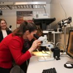 Kirsty Duncan inspects a triple-junction solar cell under the microscope
